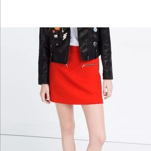 Zara red a-line mini skirt with zips